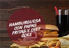 Hamburguesa con papas fritas y Diet Coke