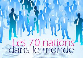 Les 70 nations dans le monde.