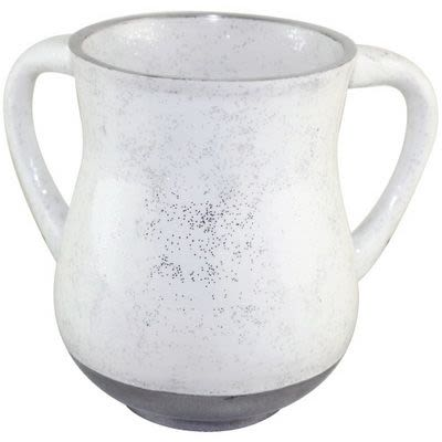 Алюминиевая белая кружка для омовения рук с блестками.