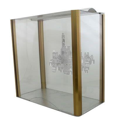 """""""Аквариум"""" для ханукии """"Иерусалим"""" - стекло и алюминий"""