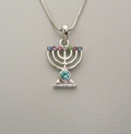 Rhodium Necklace & Menorah
