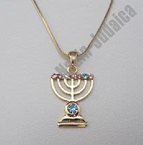 Gold Menorah Necklace