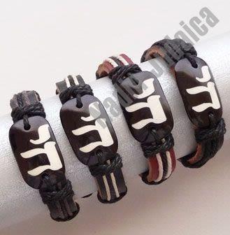 Juego de 4 pulseras de cuero Jai