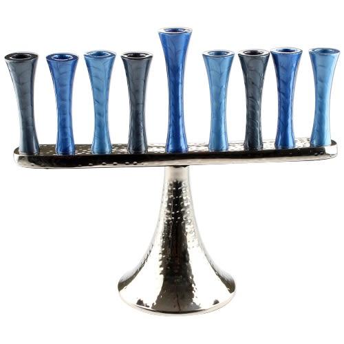 Алюминиевая ханукия - оттенки синего и голубого