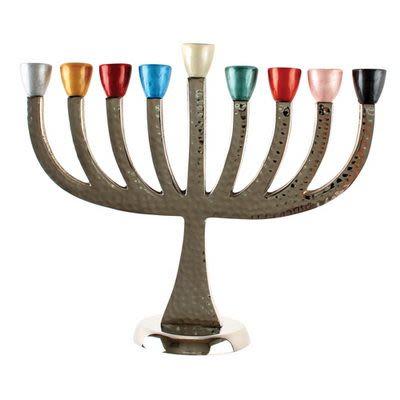 Алюминиевая ханукия с разноцветными чашечками