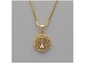שרשרת תליון עגול עם מנורה, רודיום צבע זהב