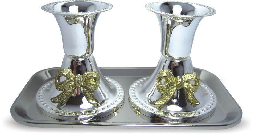 Подсвечники с серебряной отделкой