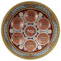 Burgundy Glass Passover Plate