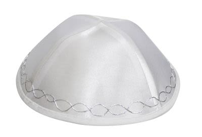 Kippa satin blanc, points blancs