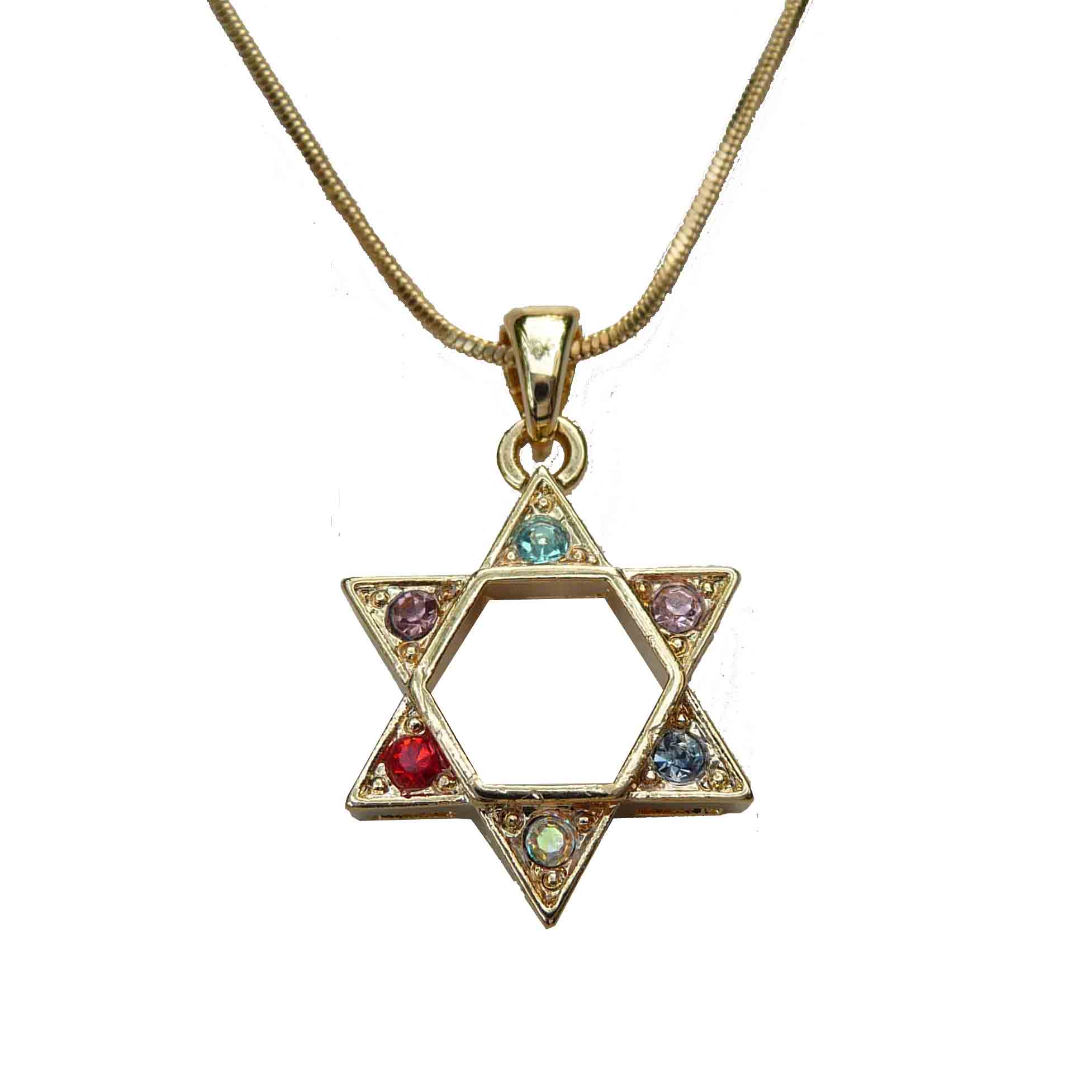 Star of David Necklace with Multi-colored Stones