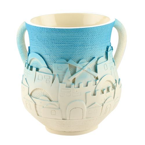 """Holy City"" Classic Washing Cup - White & Blue"