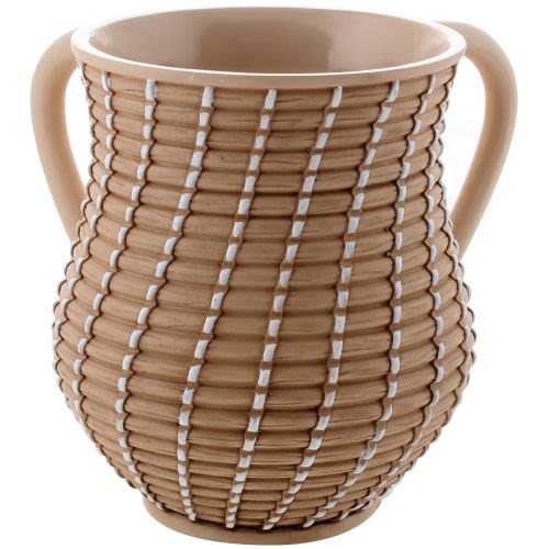 "Brown and White ""Woven Basket"" Washing Cup"