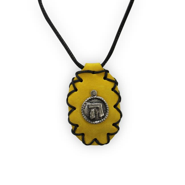"Yellow Leather Kamea ""Hei"" Chain"