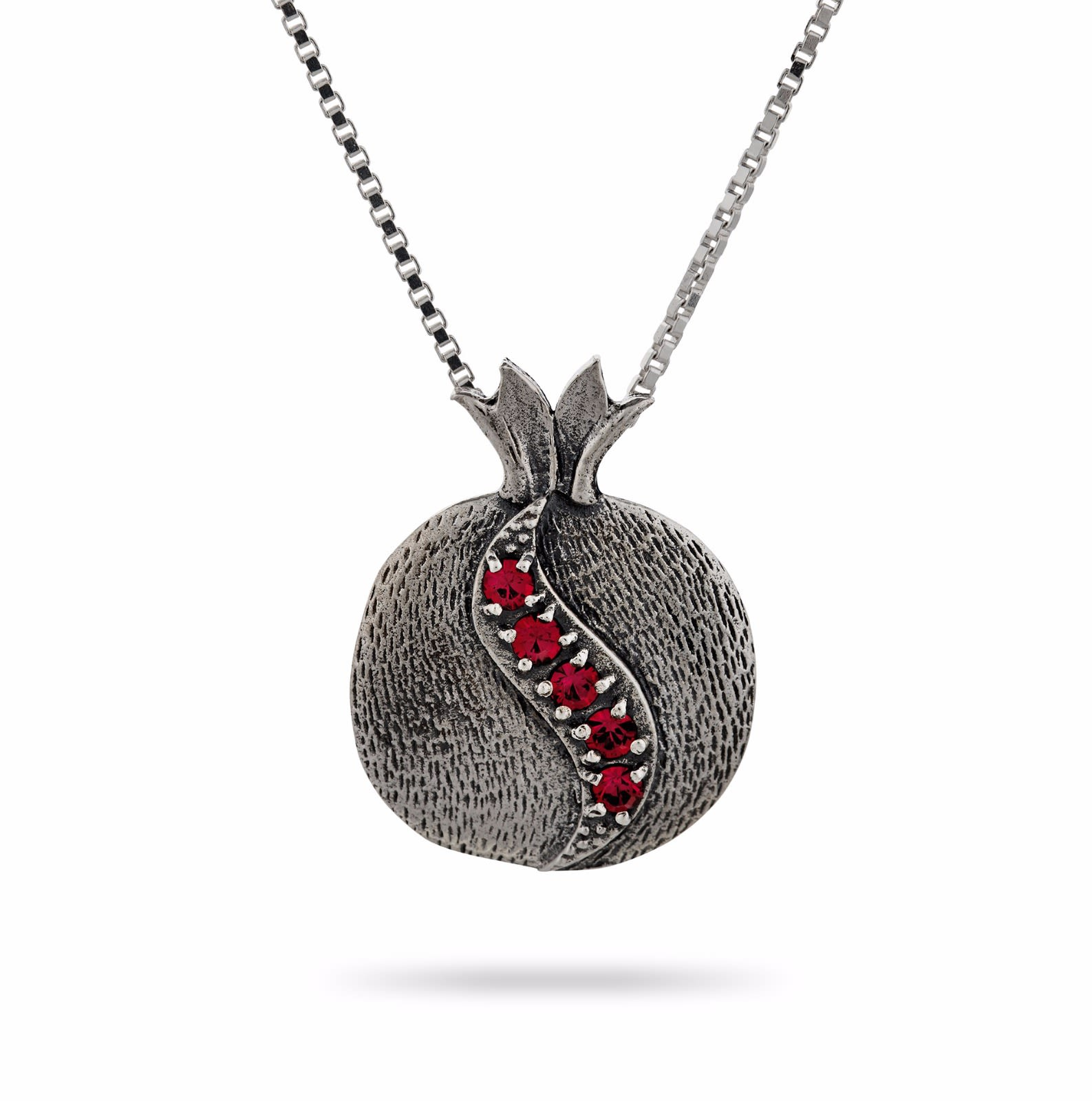 Red Stones Pomegranate on Silver Chain