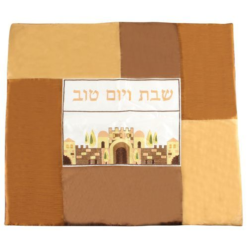 "Schabbat-Platta Decke ""Jerusalem"" (Golbraun-Beige-Braun)"