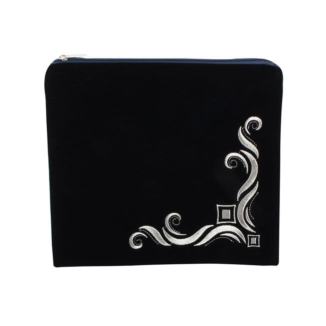 Tallit Case - Blue Velvet with embroidery