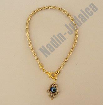 Bracelet Kabala or avec la Main