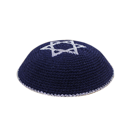 Embroidered Star of David Blue Kippa. Measurements: 17 cm