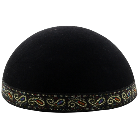 Yemenite Kippa with Colorful Band