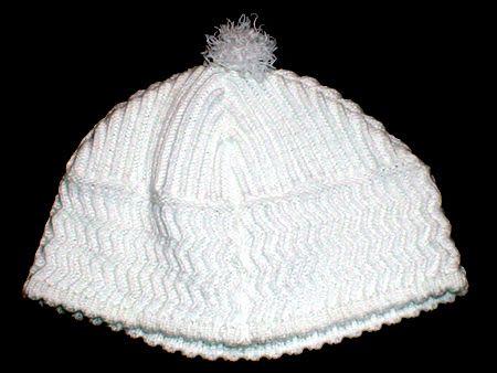 Weiße Chassiden-Kippa (Größe 78)