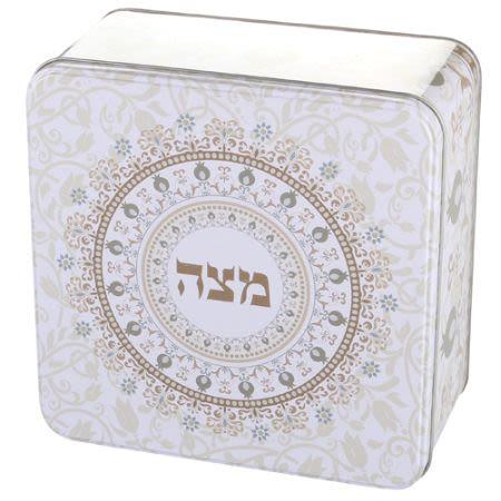 Frischhaltebox für Matzot (creme-braun-weiß)