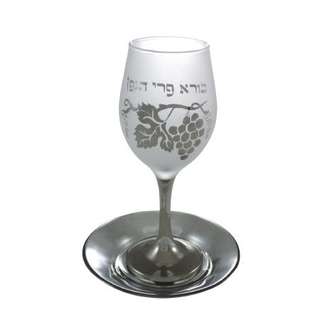 "Стеклянный бокал для кидуша ""Колос"""