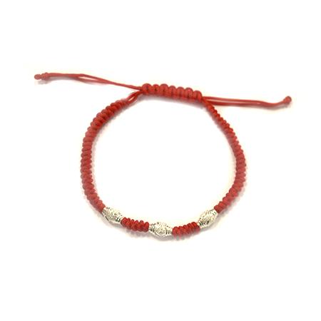 "Rotes Armband ""Rachel"" mit drei Perlen"