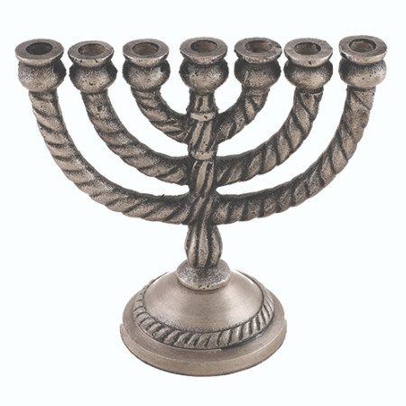 Seven-branch menorah with an aluminum pewter finish