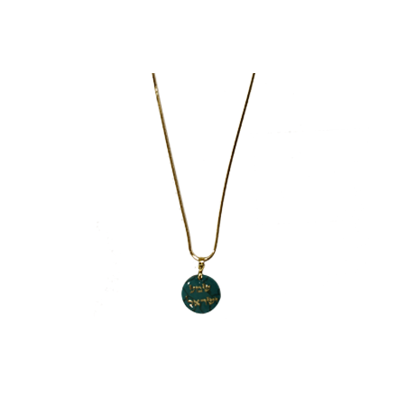 "Necklace with Pendant of Turquoise Stone with ""Shema Yisrael"" in Gold"