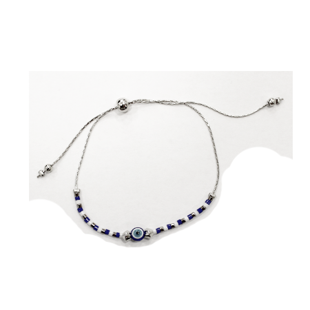 Blue beaded bracelet against the Evil Eye