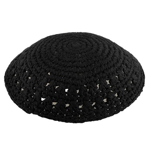 Thick Yarn Knit Kippah - Black