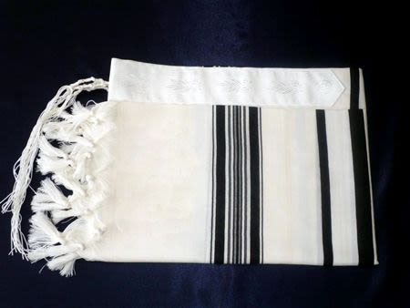 Large Tallit Black Stripe Thick White Thread - Size 70 (L)