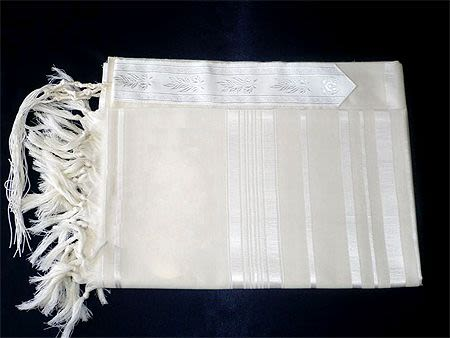 Large Tallit White Stripe Thick White Thread - Size 80 (XL)