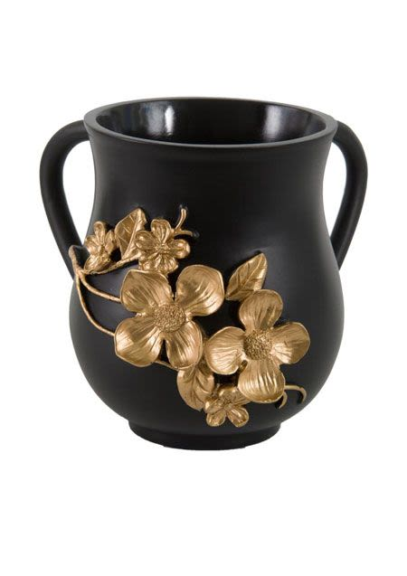 Decorative Washing Cup with Embossed Flowers - Porcelain