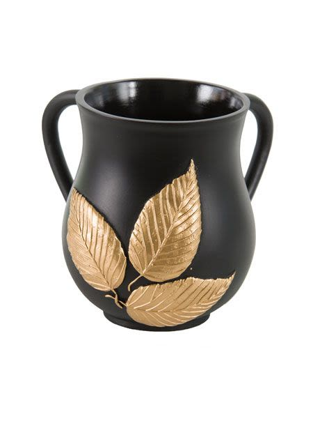 Decorative Washing Cup with Bronze Leaves - Porcelain