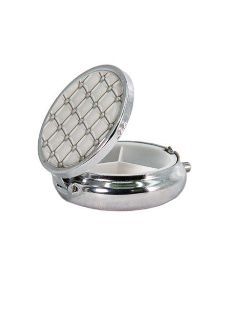 Snuff Box With Mirror - Silver Gray
