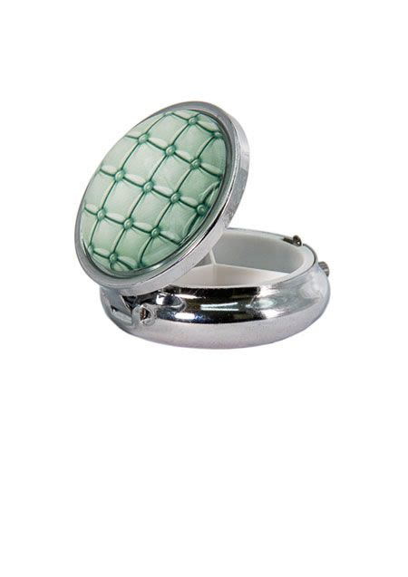 Snuff Box With Mirror - Silver Green