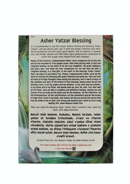 Asher Yatzar Blessing - Magnetic backing