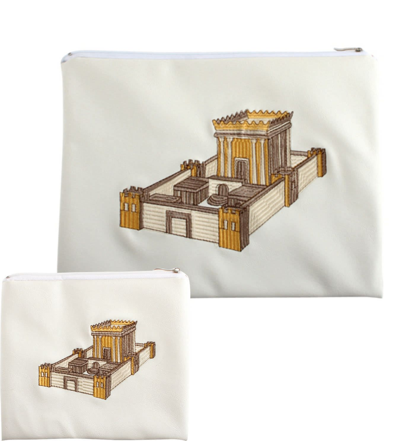 Talit and Tefillin Bag of White Color with Embroidered Beit HaMikdash