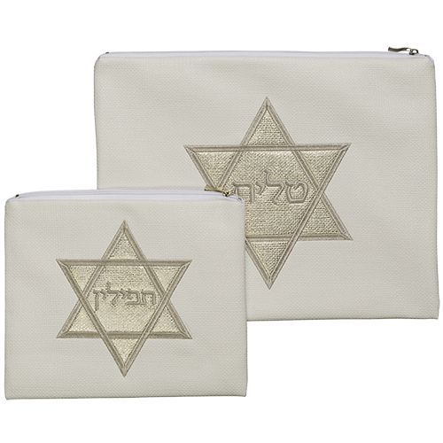 Talit and Tefillin Bag of White Color with Embroidered Star of David