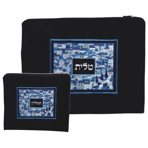 Talit and Tefillin Bag in Deep Blue Velvet with Fancy Embroidery of Jerusalem