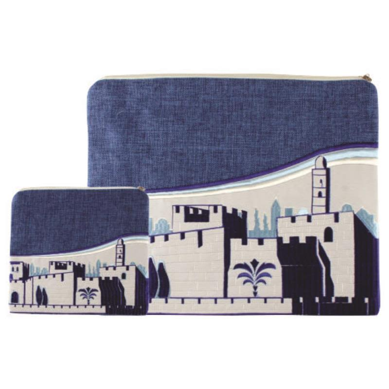 Talit and Tefillin Bag in Blue Linen with Embroidered Tower of David