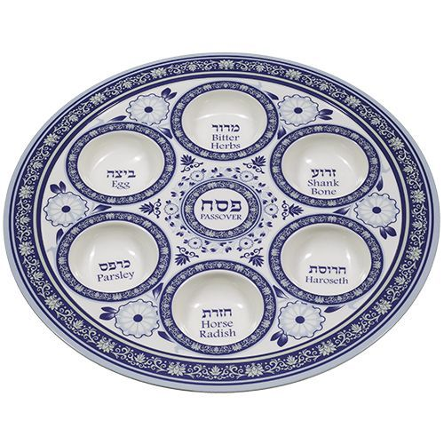 Pessach (Passover) Seder Plate Made of Melamin in Blue Print