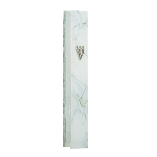 Glass Mezuzah in White-Gray Tones