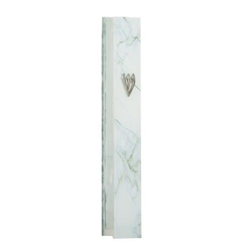 מזוזה זכוכית בגווני לבן-אפור