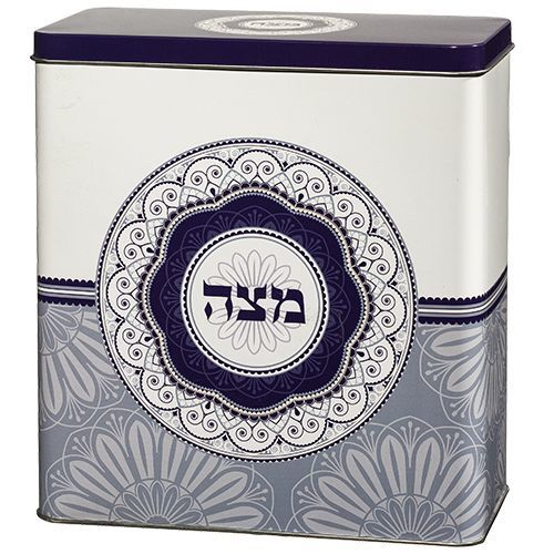 Blue Metal Matzah Container