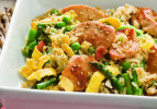 Stir Fried Chicken and Rice With Spring Vegetables