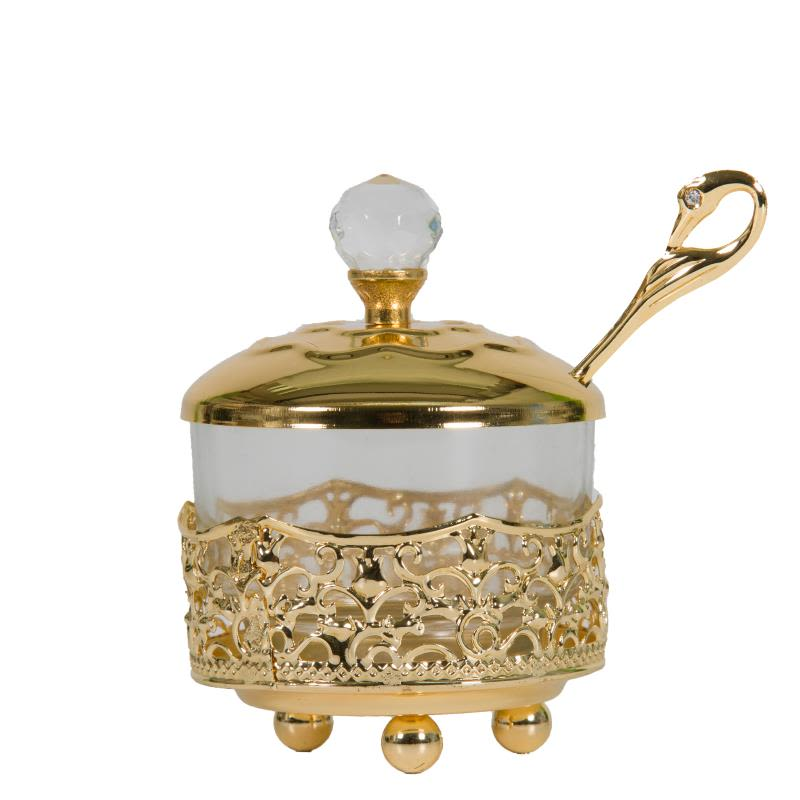 Decorative Filigree Honey Dish with Gold Finish