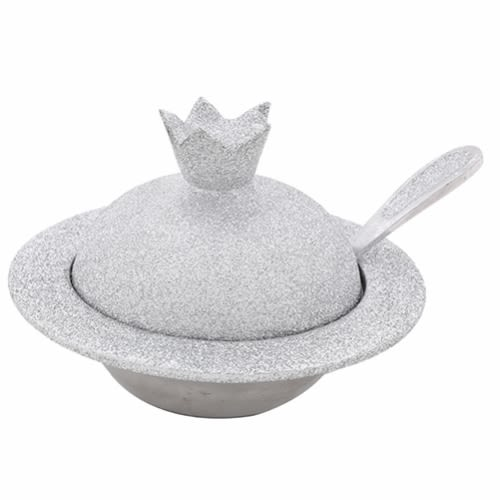 Elegant Honey Dsh with a Silver-Colored Pomegranate-Shaped Spoon