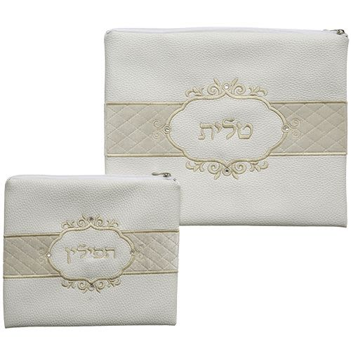 Tallit and Tefillin Set - White with Cream Embroidery